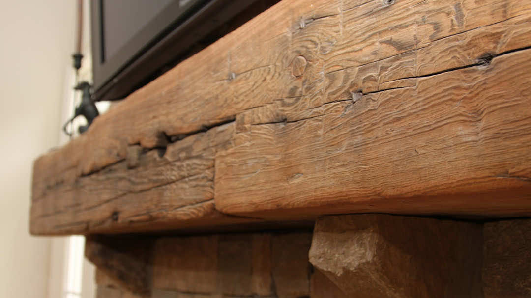 Reclaimed Wood Beams Rustic Fireplace Mantels E T Moore